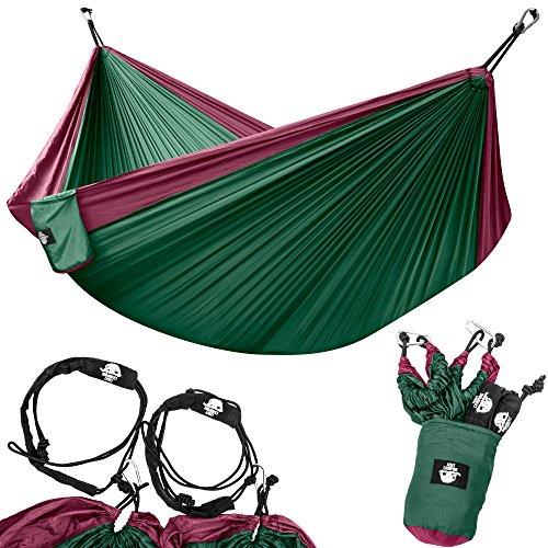 Legit Camping Portable Double Hammock - Purple/Dark Green - 400 lb Weight Capacity