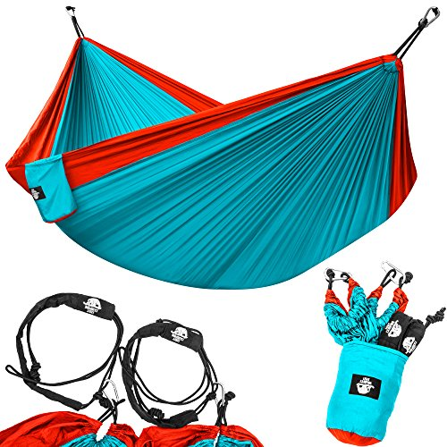 Legit Camping Portable Double Hammock - Red/Aqua - 400 lb Weight Capacity