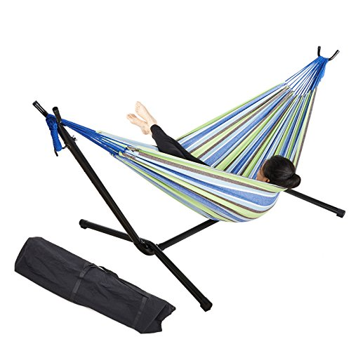 Pinty Double Hammock with 9 ft Steel hammock Stand - Blue and Green Stripes - 450 lb Weight Capacity