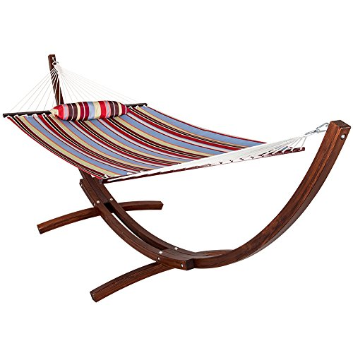LazyDaze 12 ft Wood Arc Hammock Stand with 2 Person Hammock - Red and Blue - 450 lb Weight Capacity