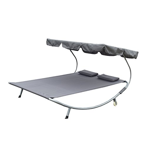 Outsunny Double Hammock Bed with Steel Stand and Sun Shade - Light Gray - 350 lb Weight Capacity