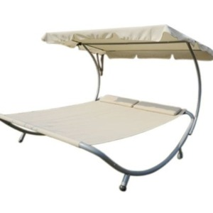 Outsunny Double Wide Hammock Bed Lounger with Sun Shade - Cream - 350 lb Weight Capacity