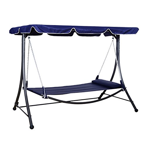 Outsunny Single Hammock Bed Lounger with Sun Canopy - 265 lb Weight Capacity