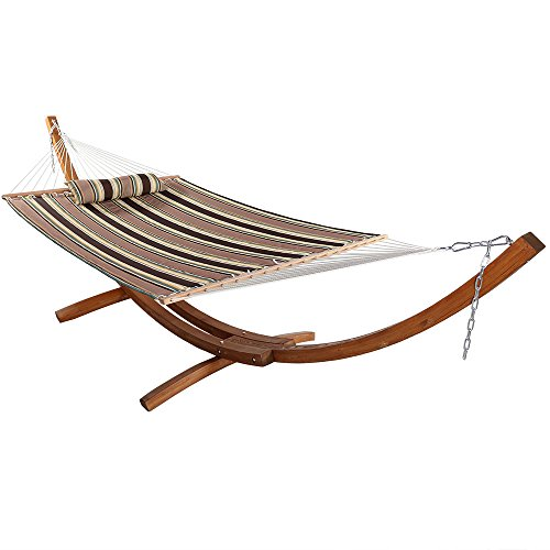 Sunnydaze Curved 13 ft Wooden Hammock Stand with Sandy Beach 2-Person Double Hammock - 400 lbs Weight Capacity