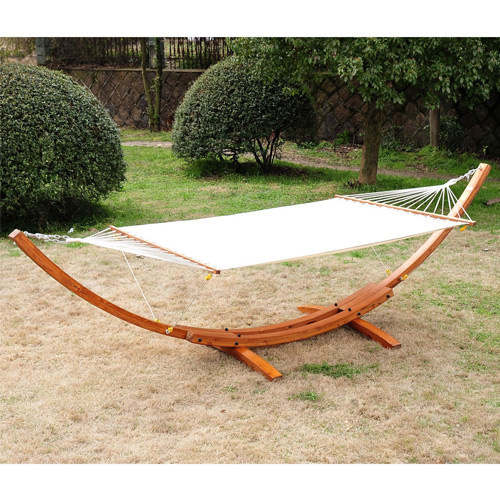 Outsunny 13 Ft Wooden Pine Arc Stand and Double Wide Hammock