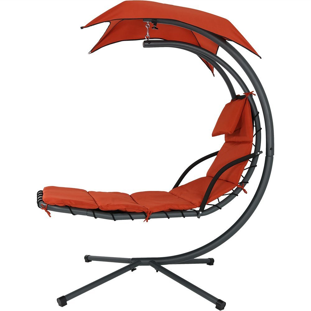 Sunnydaze Floating Chaise Lounger Swing Helicopter Chair - Burnt Orange
