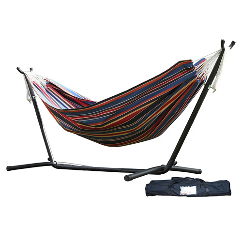 Vivere Space-Saving Steel Hammock Stand with Double Hammock
